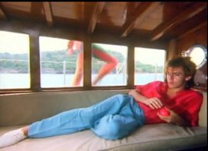 Rio Duran Duran Nick Rhodes lounges in a cabin