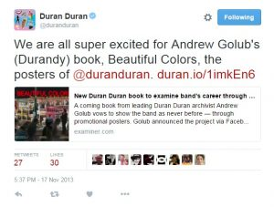 Andy Golub Beautiful Colors Duran Duran Tweet