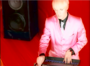 Duran Duran Perfect Day Nick Rhodes with tiny keyboard